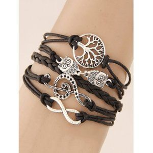 Boho Hippie Owl Music Multi Layer Braided Bracelet